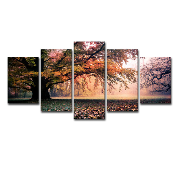 Canvas HD Prints Posters Wall Art 5 Pieces Fall Trees Group Pictures For Living Room Home Decor Great Trees Paintings Framework