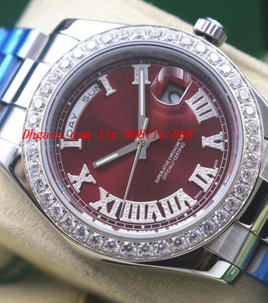 Роскошные часы Red Dial Diamond римские цифры с автоматическим механизмом плавного скольжения Модные мужские наручные часы