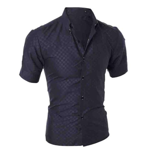 NEUES Sommer-britisches Diamantgitter 2011 des Art- und Weisesommers Plaid breathable Einreiherdunkelkornkurzes-sleeved Hemd