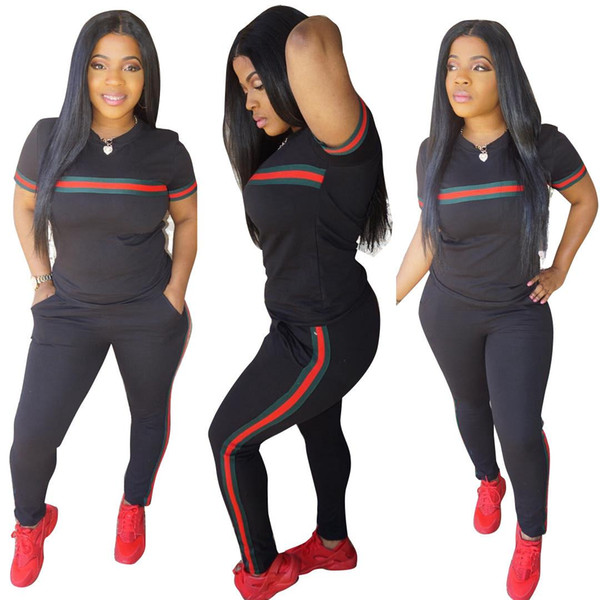 3XL Rouge et Vert Stripe Femmes Ensembles 2 pcs Survêtement Coton D'été Jogger Leisure Suit Outfit Deux Pièce Survêtements