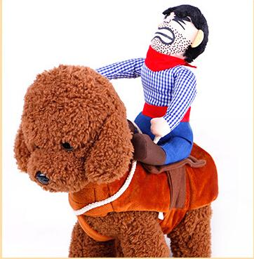 Costumi cosplay del cowboy del cavallo di guida del fumetto con il cappello Moneybag Halloween Pet Dog Clothes Novità Dog Apparel