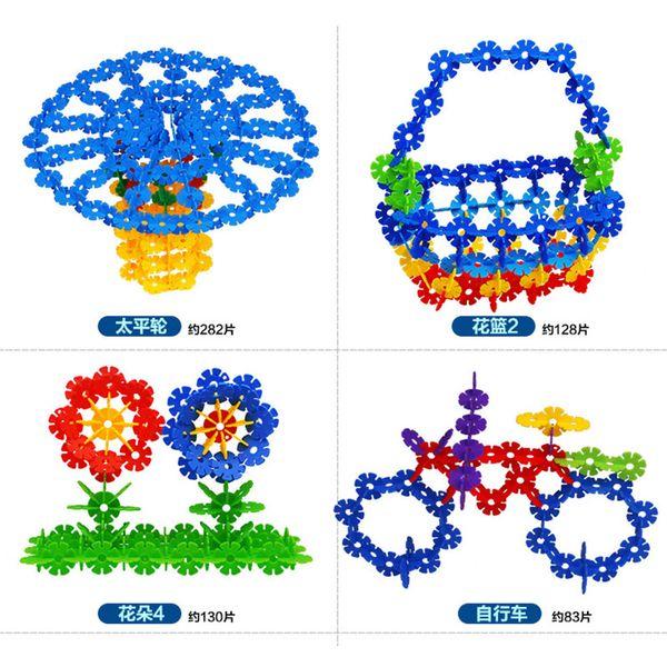 800 Stücke Kunststoff Schneeflocke Bausteine 3D Puzzle Bausätze Modell DIY Montage Klassisches Spielzeug Lernspielzeug für Kinder