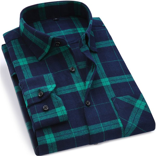 2018 New Men Plaid Long-sleeved Casual Shirts Flannel Slim Fit Spring Male Business Fashion loog Casual Dress Shirt size XS-4XL S917