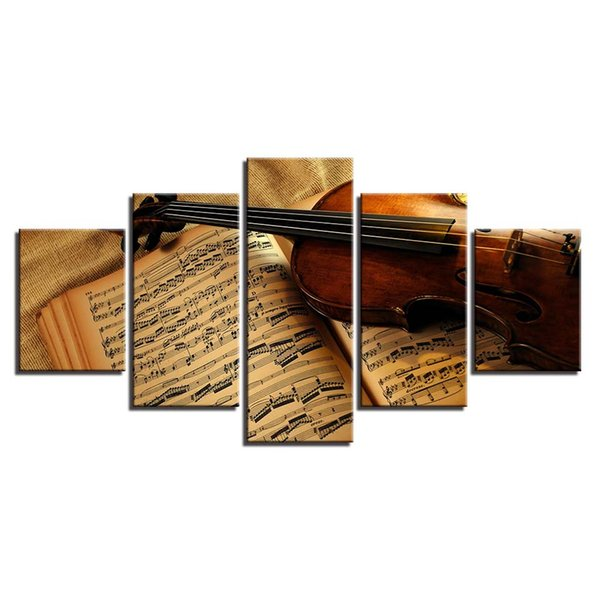 Canvas Paintings Wall Art Prints Home Decoration 5 Pieces Violin And Music Score Pictures Vintage Poster Living Room Framework