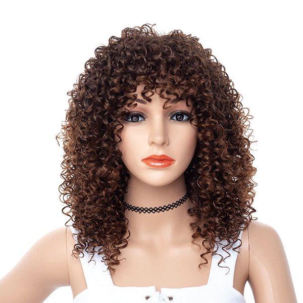 Lady Long Synthetic Deep Wave Hair Barato Full Side Bang Químico Sombrero Teñido Fibra parcial Resistente al calor Peluca