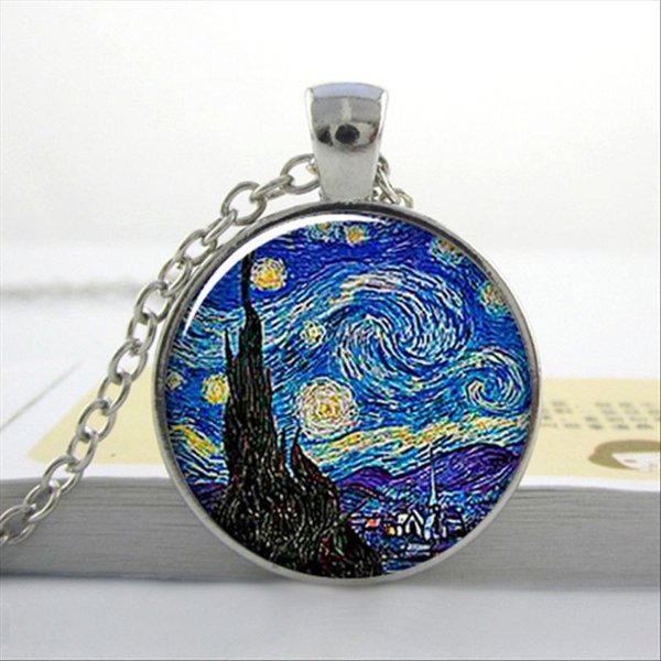 Van Gogh Almond Branch in Bloom art pendant, bridal jewelry wedding famous painting necklace