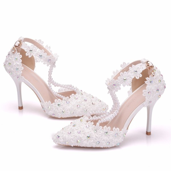 New elegant beading pointed toe shoes for women White lace flowers high heel wedding shoes thick heels Beautiful AB Crystal Plus Size Shoes
