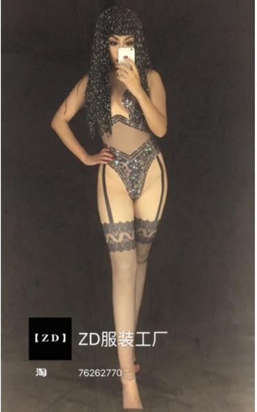 3D printed lace rhinestones sleeveless tight sexy black body jumpsuit nightclub bar singer costume party celebration birthday