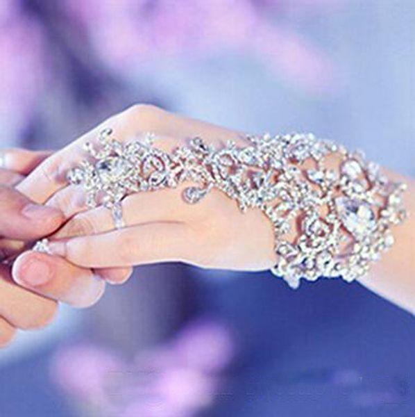 Em Estoque Sliver Cristal Strass Diamantes Pulseira Anel Pulseira de Noiva Pulseira de Jóias de Casamento Acessórios de Festa de Casamento