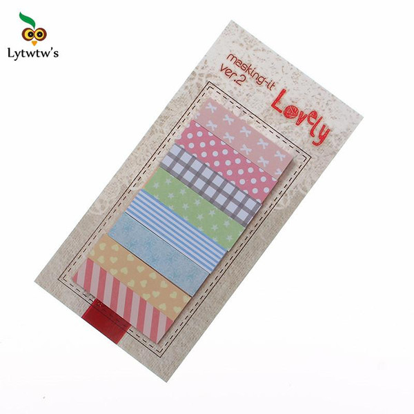 best selling 1 Piece Lytwtw's New Korean Kawaii DIY Sticky Notes Creative Post Notepad Filofax Memo Pads Office School Stationery Striped Dot