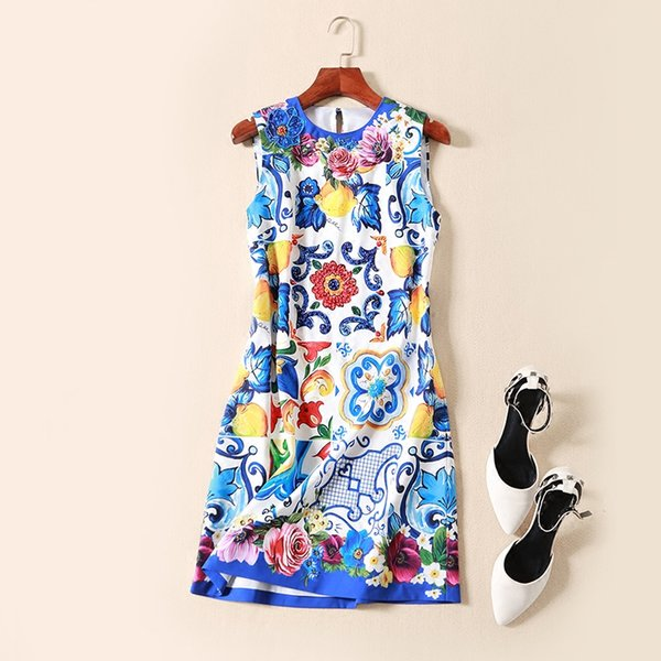 2018 spring and summer new European station style porcelain print dresses