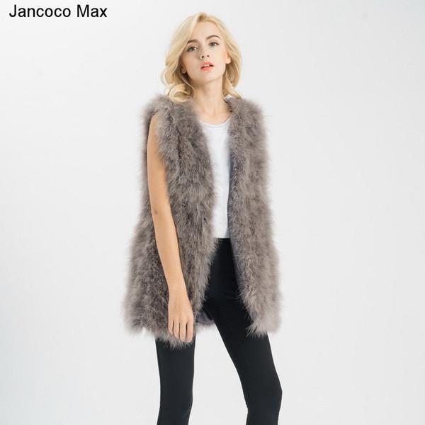 Jancoco Max S1007 Real fur gilet Or Genuine ostrich /Turkey Feather fur Long Vest Women New Fashion Jacket C18110301