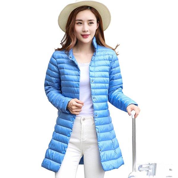 2019 Women Winter Coat 2018 New Ultra Light 90% White Duck Down Jackets Single Breasted Slim Portable Female Winter Jacket Down Coat