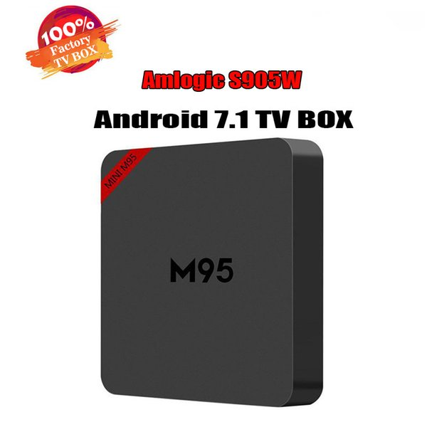 En iyi M95 MINI Android 7.1 TV KUTUSU 1 GB 8 GB Amlogic S905W Dört Çekirdekli Suppot H.265 UHD 4 K 2.4 GHz WiFi M9Smini Set-top box BETTER X96 TX3 MINI