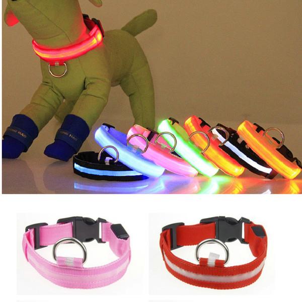 8 Colors LED Nylon Dog Collar Dog Cat Harness Flashing Light UP Night Safety Pet Collars Flashing Satety Collar