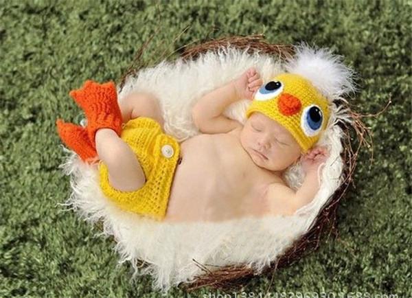 Häkeln Sie Ente zweiteilige Set Hut Windel Baby Fotografie Prop gestrickt Baby Kleidung Tier Kostüm Neugeborenen Dusche Geschenk