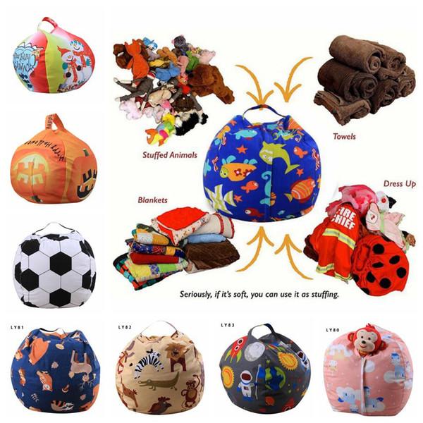 53 Styles 18inch Storage Stuffed Animal Storage Bean Bag Chair Kids Toy Storage Bag World Cup Play Mat Clothes Organizer CCA9670 20pcs