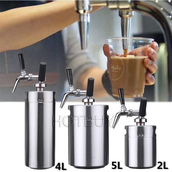 2L / 4L / 5L Nitro Cold Brew Kaffeemaschine Mini Edelstahl Fass Hausbrauen Kaffeetasse System Kit Weinbrauen Flasche Bier Growler # 4711