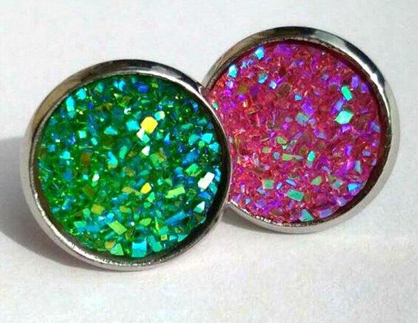 top popular 30pairs Druzy Drusy Stud Earrings 12 Colors druzy Crystal geometry Stone Earrings Jewelry for women Girl brithday christmas Gift 2019