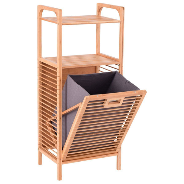 best selling Tilt-Out Bamboo Laundry Slat Frame Space Saving Storage with Shelf & Remo