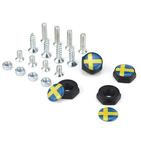 Sweden Flag Swedish flag Black License Plate Screws Thread License Plate Bolt Frame Bolts Universal Screws chrome Car Styling