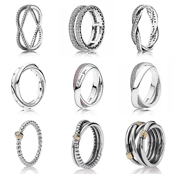 Двойные сердца сладкий обещание кольцо с Кристалл стерлингового серебра 925 подпись кольцо для женщин свадебный подарок DIY ювелирных изделий