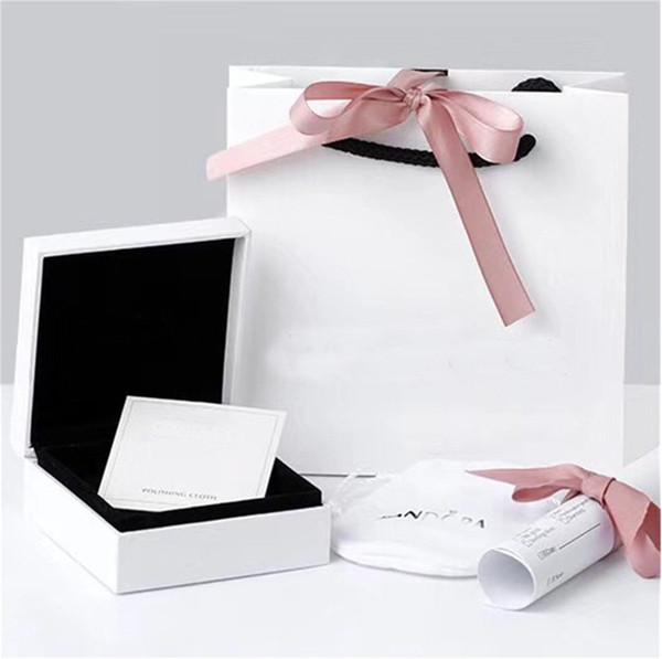 Amoureux Coeurs Boîtes À Bijoux De Mode Emballage ensemble Pour Pandora Charmes Bracelet Argent Anneaux Boîte originale Womens Cadeau sacs
