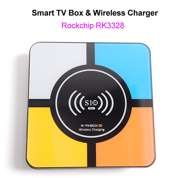 Android 8.1 Smart 4K TV Box with Wireless Charger for iPhone Samsung RK3328 Quad Core 4GB 32GB Wifi Media Player S10 Plus Smart Box