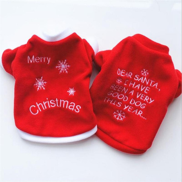 Cute Pet Dog Christmas Gifts Clothes Red Dog Apparel Polar Fleece Clothing T shirt Jumpsuit Puppy Costume Outfit Pet Supply