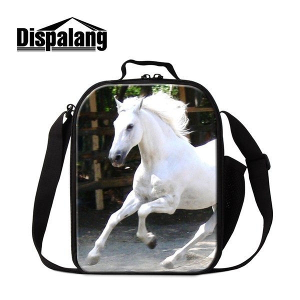 Horse Lunch Box for Students Portable Insulated Lunch Cooler Bag Thermal Container for Kids Children Messenger Meal Bag