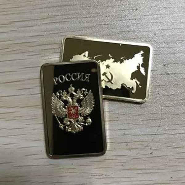 100 Pcs The Collectible Russian map ingot bar 1 OZ 24K real gold plated badge 50 x 28 mm Russia souvenir coin
