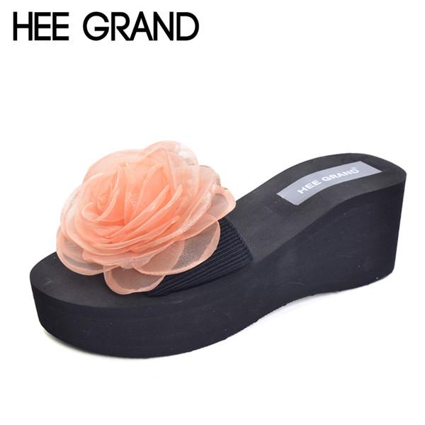 ead4d7597 Хи Гранд женские тапочки для лета Цветочный стиль платформы клинья  повседневная скольжения на Женская обувь пляжные