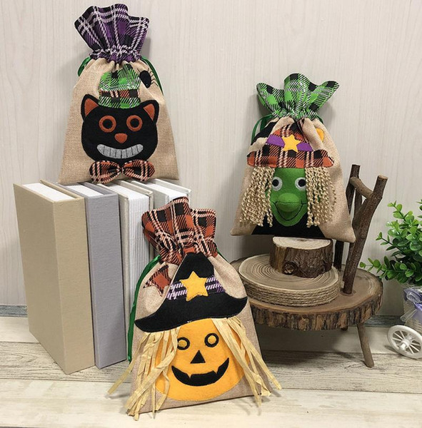 Halloween Candy Bags Beam Port Drawstring Treat Borse Sacco Party Kids Gift Pouch Dolcetto o scherzetto Party Witch Zucca Cat Decor Bag wrap