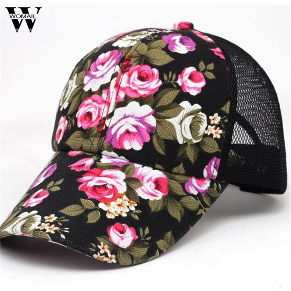 12b36388b44 Womail 2017 Summer Baseball Caps for Men Snapback Caps Women Mesh  Breathable Casual Adjustable Floral Hats