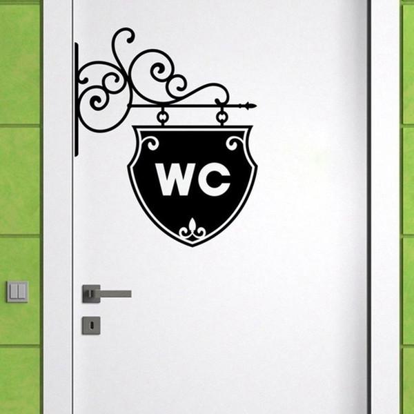 купить оптом Wc Quotes Door Sticker Vintage Bathroom Decor Toilet Door Decals Diy Waterproof Wall Art Home Decoration Accessories отroberte в