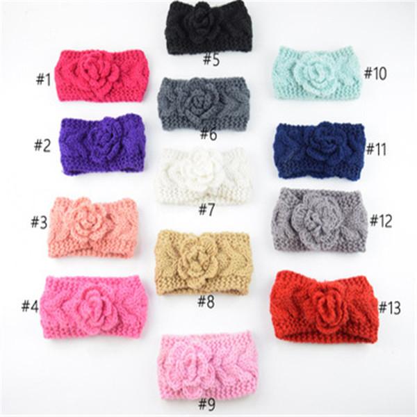 Autumn Winter Europe Baby Flower Knitted Headbands Girls Hair Bands Childrens Warm Crochet Hair Accessories Lovely Kids Headwrap K0392