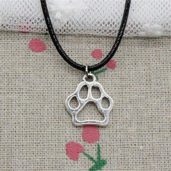 Creative Fashion Antique Silver Pendant dog bear paw 19*17mm Necklace Choker Charm Black Leather Cord Handmade Jewlery