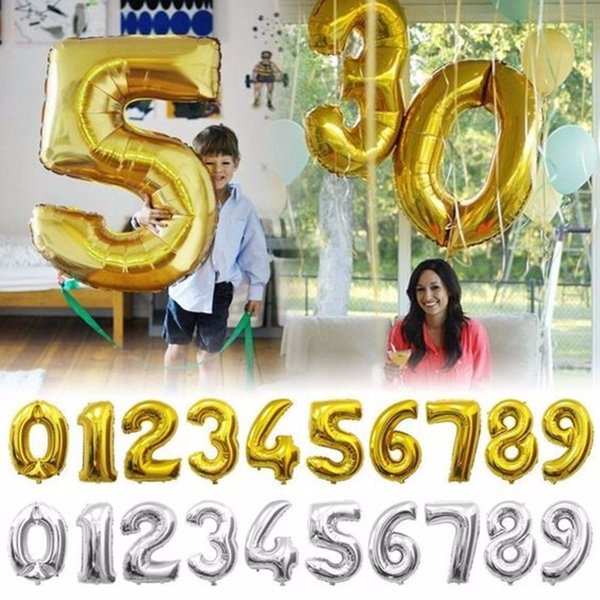 Gold Silver Number Foil Balloons Digit air Ballons Happy Birthday Wedding Decoration Letter balloon Event Party Supplies WS-23