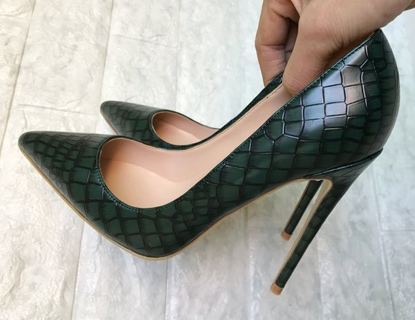 2018 Retro Stone Cut Pattern green Women Pumps Fashion genuine Leather Party red bottom Shoes Pointed Toe Shallow Women High Heels big size