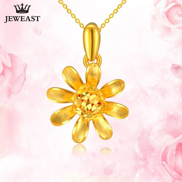 24K Pure Gold Pendant Real AU 999 Solid Gold Charm Beautiful Flower Upscale Trendy Classic Party Fine Jewelry Hot Sell New 2018