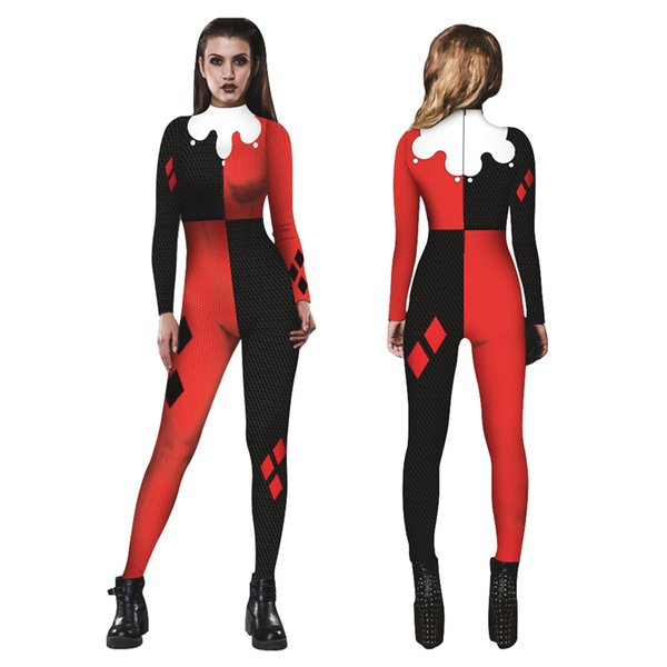 3D Catsuit Women Halloween Cosplay Jumpsuit Joker Skinny Pant Long Sleeve Bodysuit Cop Outfit Costume Party Dress Girls Group Costumes Great Group