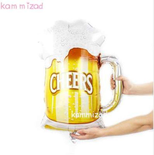 KAMMIZAD décorations de mariage 1pcs 28 pouces gaint bière mug ballons d'hélium fête d'anniversaire CHEERS célébration verre tasse ballon feuille