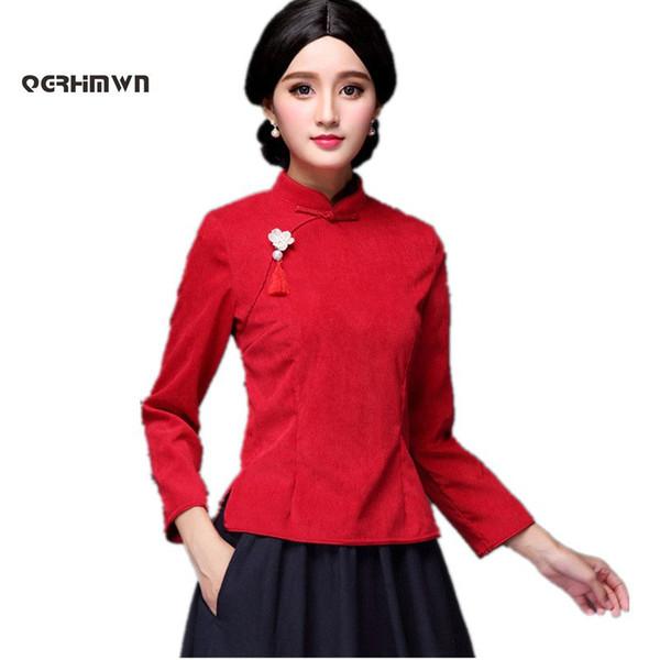Женщины Осень Зима пальто женский костюм Вельвет Cheongsam винтаж с длинным рукавом блузка традиционный китайский топы Тан костюм 3XL
