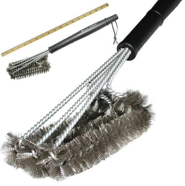 """18"""" Rugged Grill Cleaning Brush BBQ tool Grill Brush 3 Stainless Steel Brushes In 1 Provides Effortless Cleanin BBQ Accessories"""