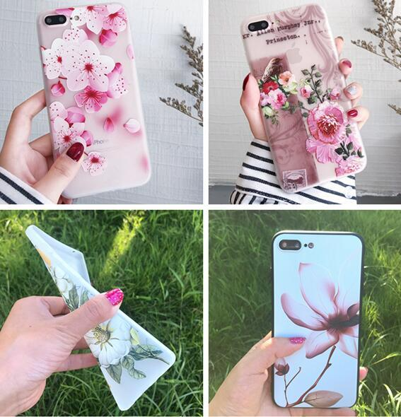 Relief Flower Soft TPU Case For Iphone X XS MAX 6.5'' XR 6.1'' 8 7 PLUS I7 6 6S 5 5S SE You are Beautiful Bird Matte Skin Cover Luxury 15pcs