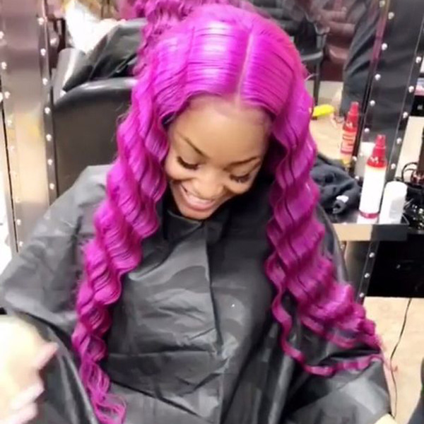Purple Brazilian Deep Wave Lace Front Human Hair Wigs For Black Women Cheap Pre Plucked Glueless Full Lace Wigs With Baby Hair