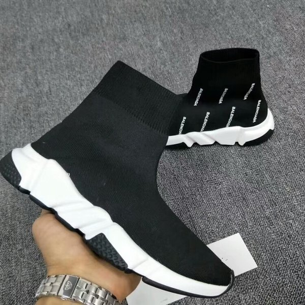 Men Women Designer Shoes Paris Famous Brand Speed Trainer Mid Black White Top Quality Sneakers Mens Sock Shoes Free Shipping bll1801130010
