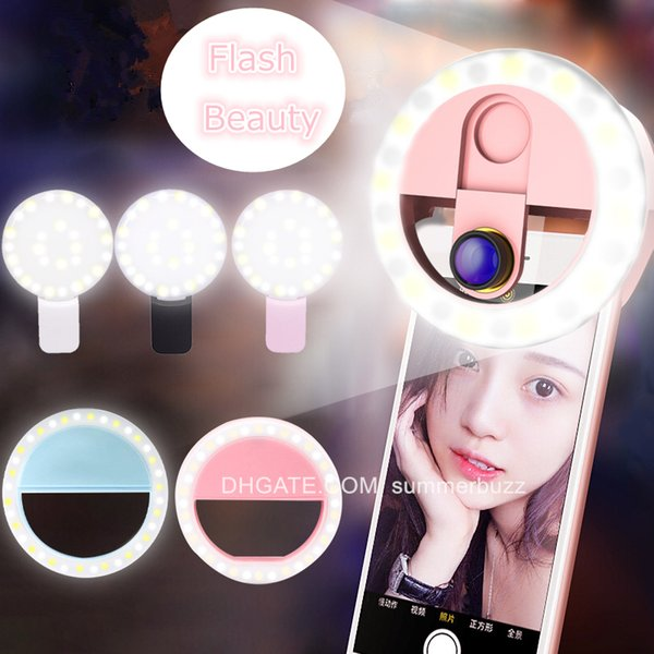 Universal Circle Portable Flash Camera USB LED Rechargeable Fill Selfie Ring Light For Mobile Cell Phone Christmas Lover Friends Gifts