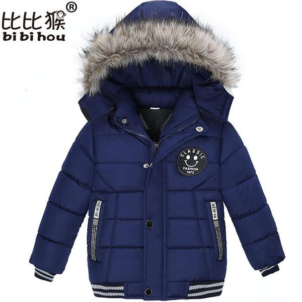 Bibihou 2017 Winter Hooded Down jacket for girls outerwear boys coat Suit Outwear Kids Clothes snow wear snowsuit parka Smiley Y18102508