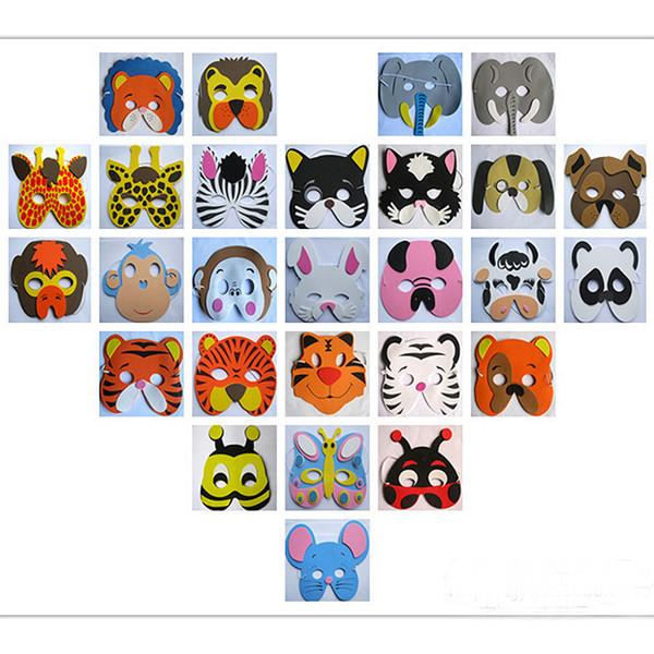 Funny 10pcs Assorted EVA Foam Animal Cartoon Mask Birthday Party Favors Prop Kid Dress Up Costume Zoo Jungle Party Decoration